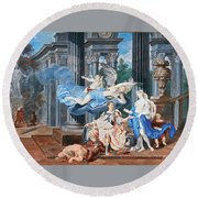 Theseus Crowned With A Laurel Wreath After Slaying The Centaur Bianor Round Beach Towel