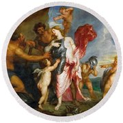 Thetis Receiving The Weapons Of Achilles From Hephaestus Round Beach Towel