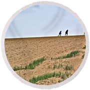 They Are Not At The Top Of This Dune Climb In Sleeping Bear Dunes National Lakeshore-michigan Round Beach Towel