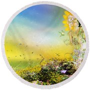 They Call Me Summer Round Beach Towel by Mary Hood