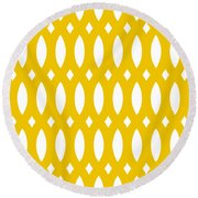 Thick Curved Trellis With Border In Mustard Round Beach Towel