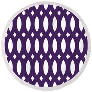Thick Curved Trellis With Border In Purple Round Beach Towel