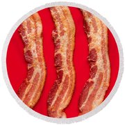 Thick Cut Bacon Served Up Round Beach Towel