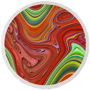 Thick Paint Orange Abstract Round Beach Towel