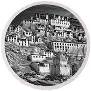 Thiksey Monastery - Paint Bw Round Beach Towel