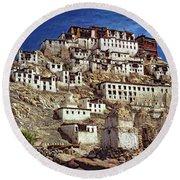 Thiksey Monastery Round Beach Towel