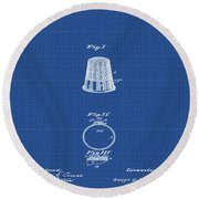 Thimble Patent 1891 In Blue Print Round Beach Towel