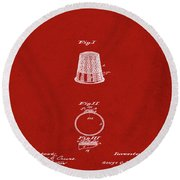 Thimble Patent 1891 In Red Round Beach Towel