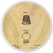 Thimble Patent 1891 In Sepia Round Beach Towel