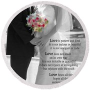 Things To Remember About Love - Black And White #3 Round Beach Towel