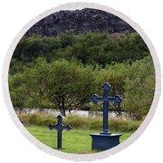 Thingvellir Church Cemetery, Iceland Round Beach Towel