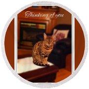 Thinking Of You - Bengal Cat Round Beach Towel