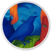 Thinkng Abaut Separation. Round Beach Towel