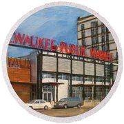 Third Ward - Milwaukee Public Market Round Beach Towel