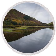Thirlmere From A Low Altitude Round Beach Towel