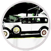 Thirties Packard Limo Round Beach Towel