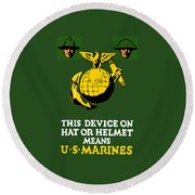 This Device Means Us Marines  Round Beach Towel by War Is Hell Store