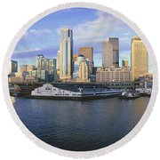 This Is The Skyline And Harbor Round Beach Towel