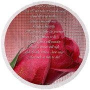 This Little Rose On Digital Linen Round Beach Towel