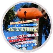 This Way To Florida Round Beach Towel