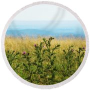 Thistle On The Blue Ridge Round Beach Towel