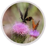 Thistle Pollinators - Large And Small Round Beach Towel