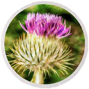 Thistle - The Flower Of Scotland Watercolour Effect. Round Beach Towel