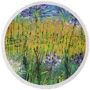 Thistles Too Round Beach Towel