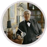 Thomas Edison Round Beach Towel