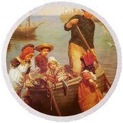 Thomas Edwin Monsters Of The Deep Round Beach Towel