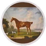 Thomas Egerton's Chestnut Hunter With A Groom And Two Hounds And A Terrier In A River Landscape Round Beach Towel