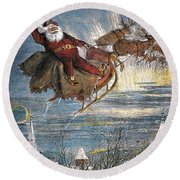 Thomas Nast: Santa Claus Round Beach Towel