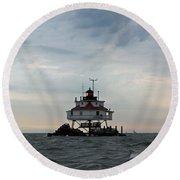 Thomas Point Shoal Lighthouse - Icon Of The Chesapeake Bay Round Beach Towel