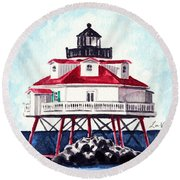 Thomas Point Shoal Lighthouse Annapolis Maryland Chesapeake Bay Light House Round Beach Towel