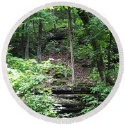 Thorncrown Chapel Setting In The Ozark Mountains Round Beach Towel