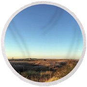 Thornham Marsh Lit By The Setting Sun Round Beach Towel
