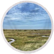 Thornham Marshes, Norfolk Round Beach Towel