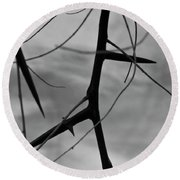 Thorns In Silouette Round Beach Towel
