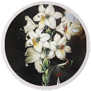 Thornton: White Lily Round Beach Towel