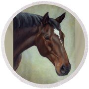 Thoroughbred Horse, Brown Bay Head Portrait Round Beach Towel