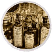 Those Old Apothecary Bottles In Sepia Round Beach Towel
