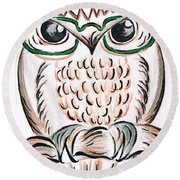 Owl- Those Spectacles  Round Beach Towel