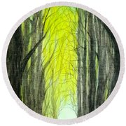 Though The Forest To The Light  Round Beach Towel