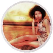 Thoughtful  Round Beach Towel
