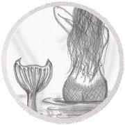 Thoughtful Mermaid Round Beach Towel