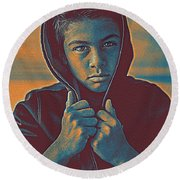 Thoughtful Youth 11 Round Beach Towel