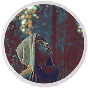 Thoughtful Youth 12 Round Beach Towel