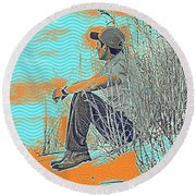 Thoughtful Youth 7 Round Beach Towel