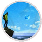 Thoughtful Youth 8 Round Beach Towel