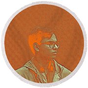 Thoughtful Youth Series 19 Round Beach Towel